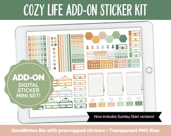 Cozy Life Add-On Digital Stickers | GoodNotes & iPad | Trackers, Budget, Fitness, Health, Habits