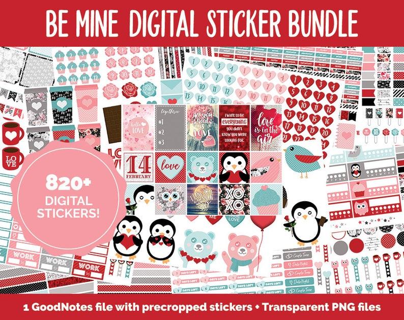 Valentine Mega Digital Sticker Bundle  GoodNotes & iPad  image 0