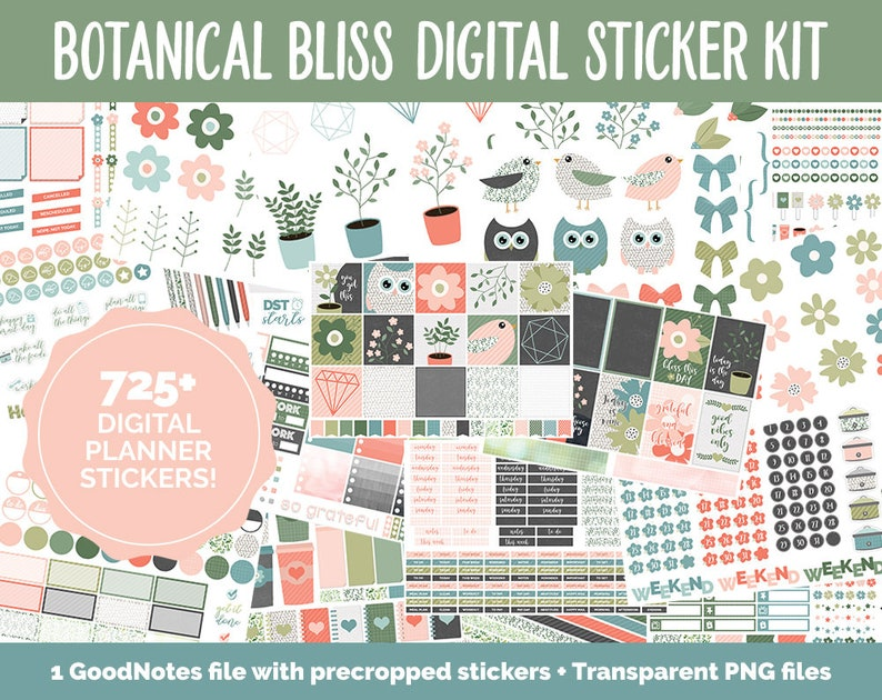 Botanical Bliss March Digital Sticker Bundle  GoodNotes & image 0