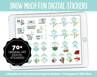 Snow Much Fun Digital Planner Stickers | GoodNotes, iPad and Android | Snowmen, Christmas, Winter, Adulting