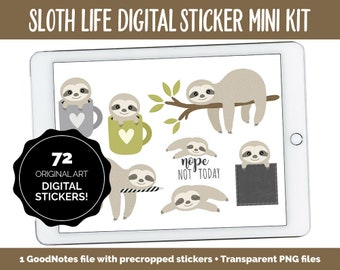 Sloth Life Digital Planner Stickers | GoodNotes, iPad and Android | Chores, Washi, Planner Clips