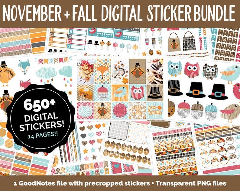 November Thanksgiving Fall Digital Sticker Bundle  650  image 0