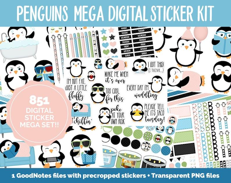 Penguin Parade Digital Sticker Mega Bundle  GoodNotes & iPad image 0