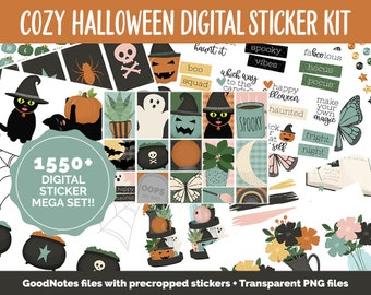 Cozy Halloween Digital Stickers | GoodNotes & iPad | Sassy Cat, Boho, Decor, Autumn, Fall