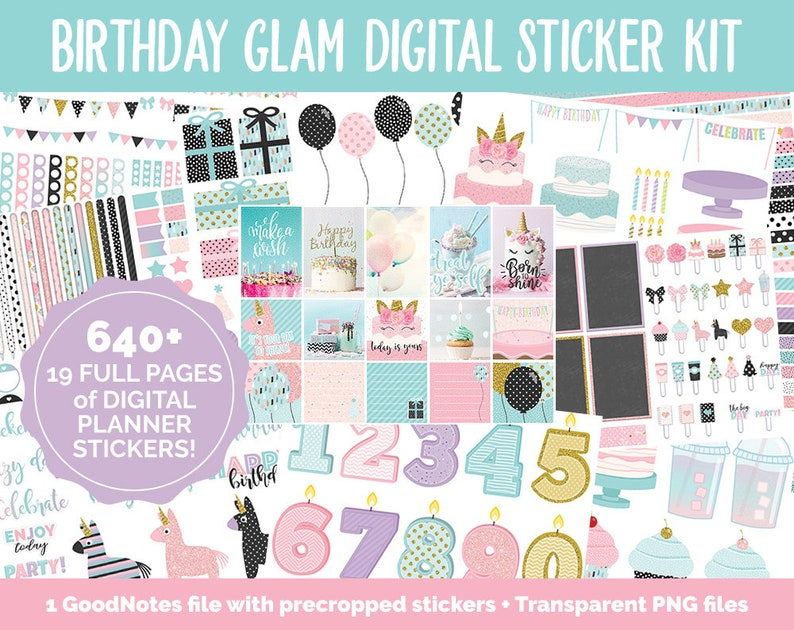 Birthday Glam Digital Stickers  GoodNotes & iPad  Happy image 0