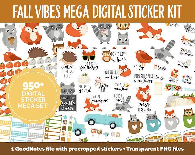 Fall Vibes Digital Planner Sticker Mega Kit  GoodNotes iPad image 0