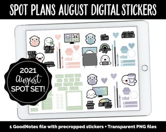 Spot Plans August Digital Stickers | GoodNotes, iPad and Android | Boho, Rainbow, Sassy, Adulting, Planning