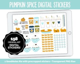 Pumpkin Spice Digital Stickers | GoodNotes, iPad & Android | Fall, Autumn, Thanksgiving, Kawaii, Adulting, Moods, Tasks