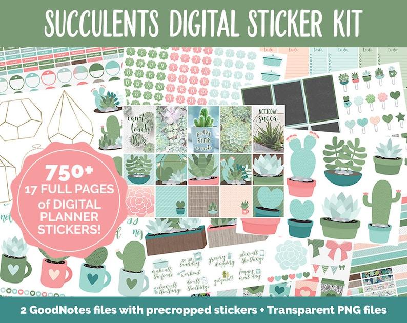 Succulents & Cactus Digital Sticker Bundle  GoodNotes  iPad image 0