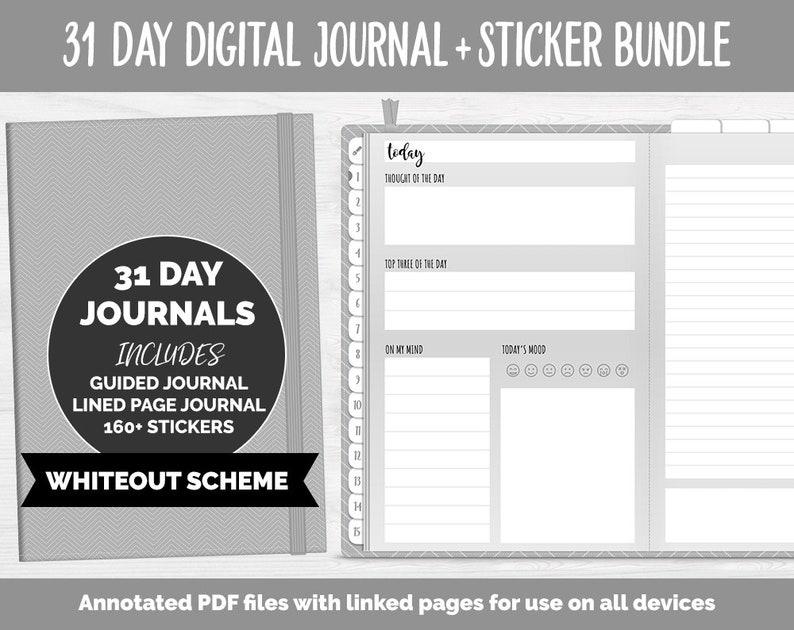 31 Day Digital Journal  Sticker Bundle  Whiteout  image 0