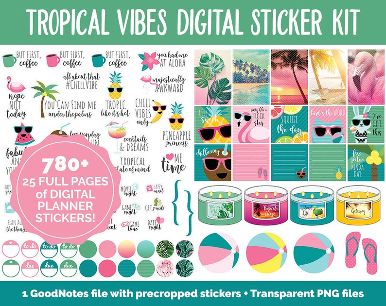 Tropical Vibes Digital Stickers  GoodNotes iPad & Android  image 0