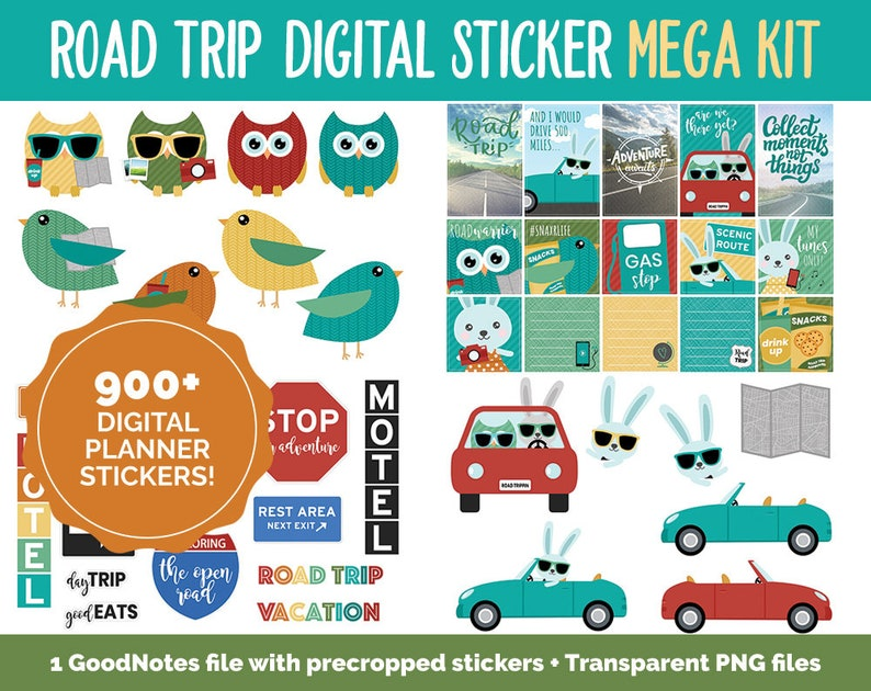 Road Trip Digital Stickers  GoodNotes iPad and Android  image 0
