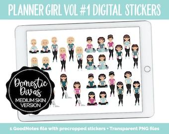 Planner Girls Vol #1 Domestic Divas Digital Stickers | Medium Skin | GoodNotes, iPad and Android | Chores, Tasks, Clean