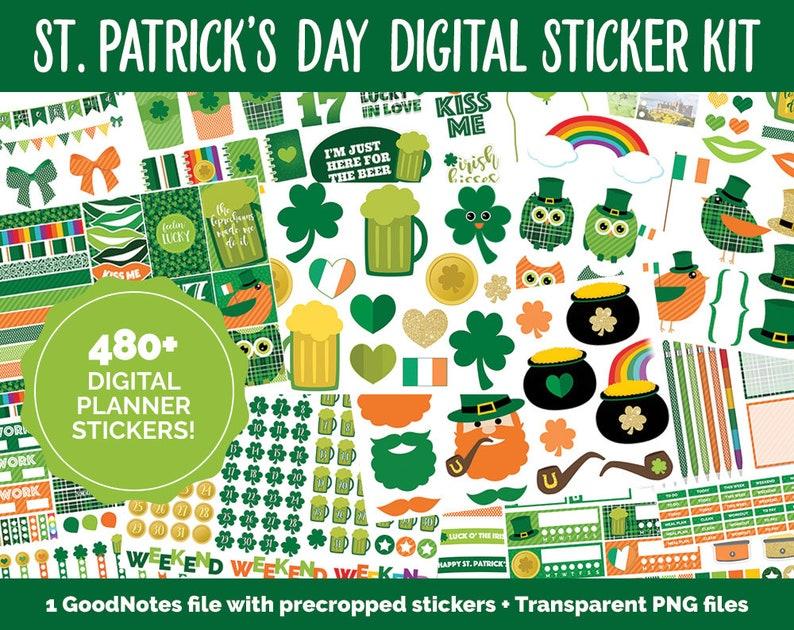 St. Patrick's Day Mega Digital Sticker Bundle  GoodNotes image 0
