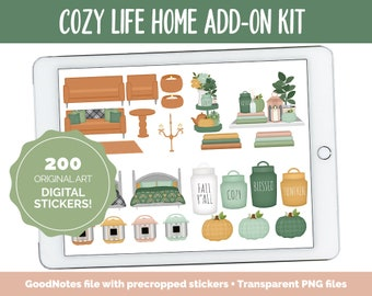 Cozy Life Home Digital Stickers | GoodNotes & iPad | Furniture, Decor, Autumn, Fall