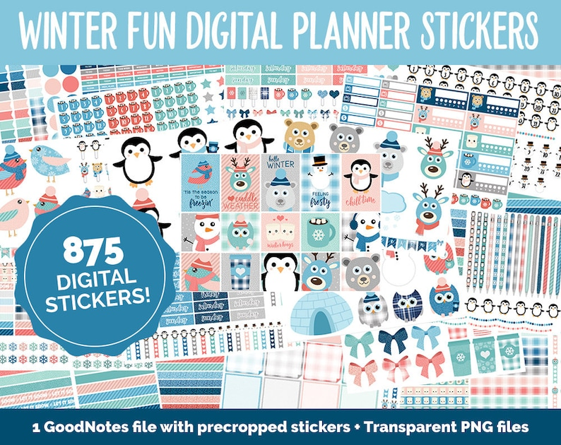 Winter Fun Mega Digital Sticker Bundle  GoodNotes & iPad  image 0