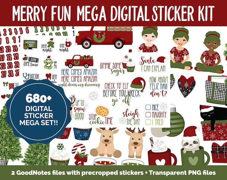 Merry Fun Digital Sticker Mega Bundle  GoodNotes & iPad  image 0