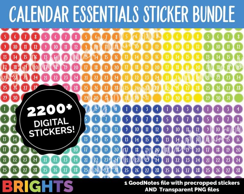 Digital Calendar Numbers MEGA BUNDLE  BRIGHTS  Goodnotes and image 0