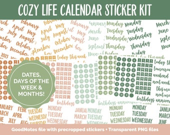 Cozy Life Calendar Essentials Digital Planner Stickers | GoodNotes, iPad and Android | Dates, Days of the Week, Months