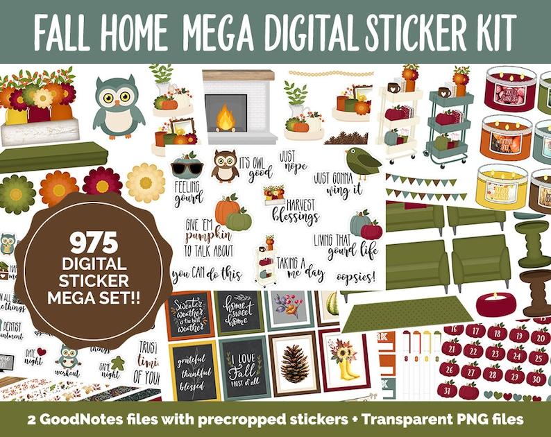 Fall Home Digital Planner Sticker Mega Kit  GoodNotes iPad image 0