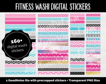 Digital Fitness Washi Stickers | GoodNotes & iPad | Workout, Weight Loss, Health