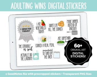 Adulting Wins Digital Stickers | GoodNotes, iPad and Android | Adulting, Tasks, Chores, To-Dos