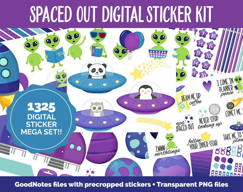 Spaced Out Digital Sticker Mega Bundle  GoodNotes & iPad  image 0