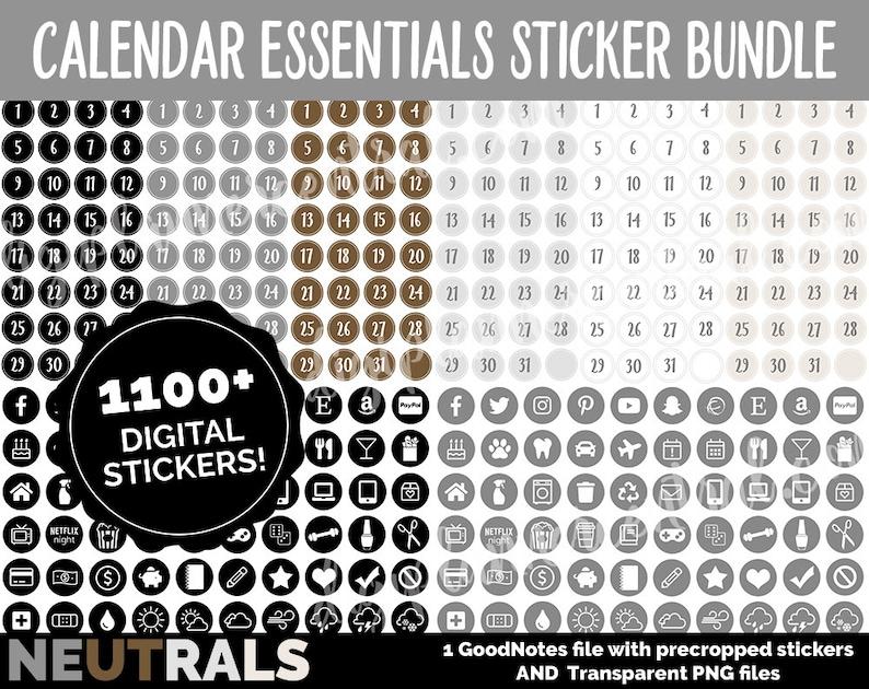 Digital Calendar Sticker Numbers MEGA BUNDLE  NEUTRALS  image 0