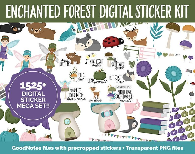 Enchanted Forest Digital Sticker Mega Bundle  GoodNotes & image 0