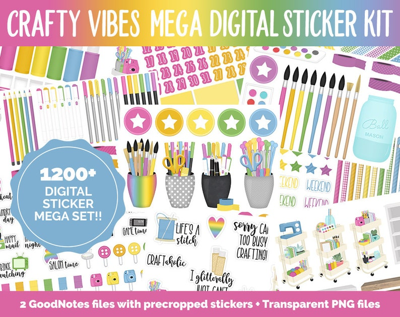Crafty Vibes Digital Sticker Mega Bundle  GoodNotes & iPad  image 0