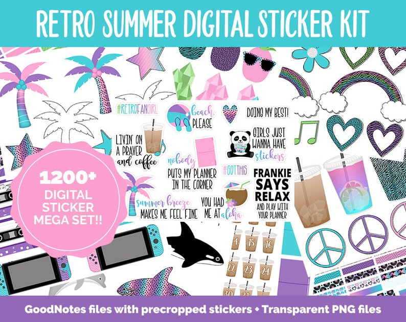 Retro Summer Digital Sticker Mega Bundle  GoodNotes & iPad  image 0