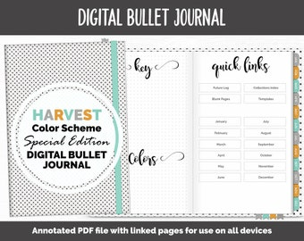 Digital Bullet Journal | Dot Grid | Harvest Theme | Goodnotes, iPad & Android