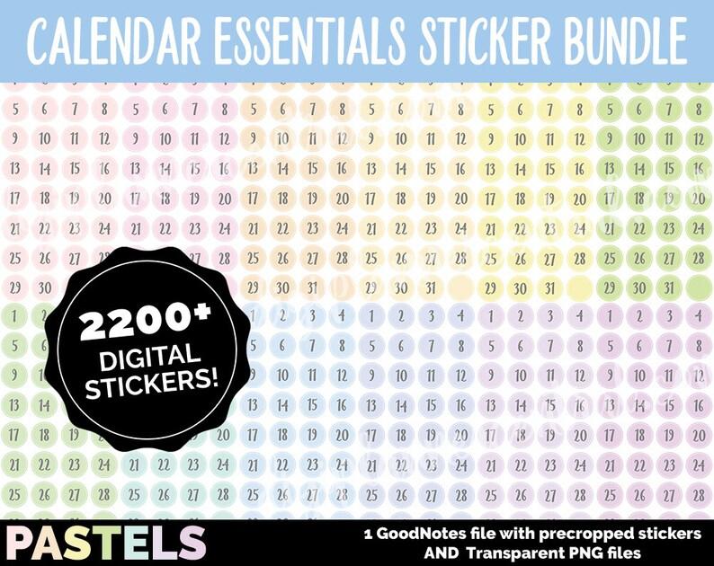 Digital Calendar Numbers MEGA BUNDLE  PASTELS  Goodnotes and image 0