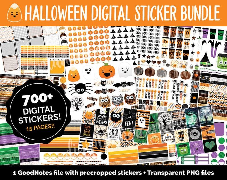 Halloween Digital Sticker Mega Bundle  700  GoodNotes & image 0