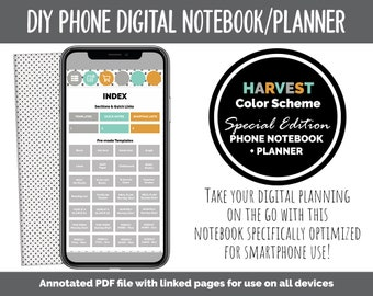 Phone DIY Digital Notebook + Planner | Harvest Theme | Goodnotes, iPad & Android | Hobonichi, Bullet Journal, Planner, Notebook
