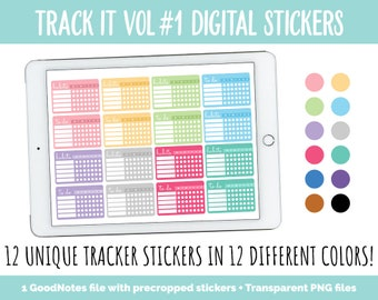 Track It Vol #1 Digital Tracker Stickers | GoodNotes, iPad and Android | Habit, Weather, Pain, Medication, Vitamin, Weekly Trackers