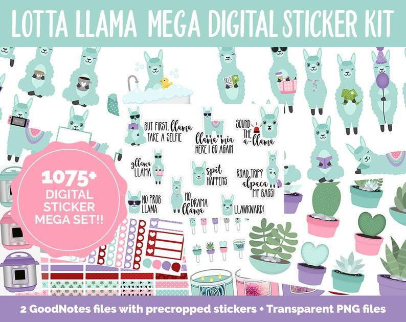 Lotta Llamas Digital Sticker Mega Bundle  GoodNotes & iPad  image 0