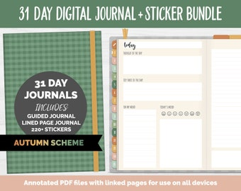 31 Day Digital Journal + Sticker Bundle | Autumn Theme | GoodNotes, iPad & Android