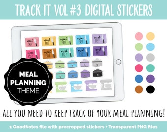 Track It Vol #3 Meal Planning Tracker Stickers | GoodNotes, iPad and Android | Menu Trackers, Food Log, Meal Prep