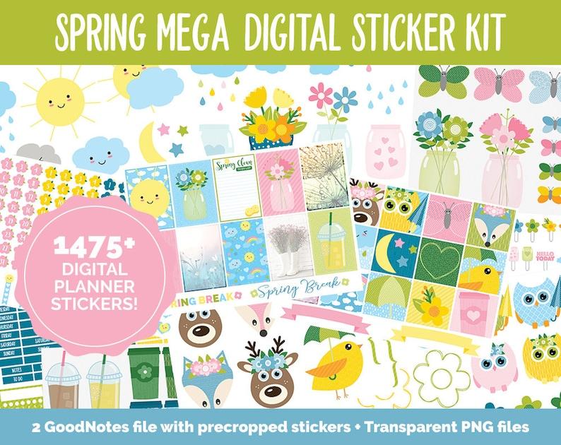 Spring MEGA Digital Sticker Bundle  GoodNotes & iPad  April image 0
