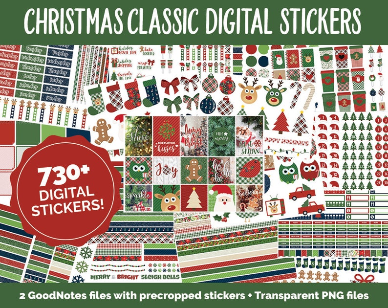 Christmas Holiday Classic Mega Digital Sticker Bundle | GoodNotes & iPad |  Winter, Calendar Dates, Sticky Notes, Washi, Trackers and More!
