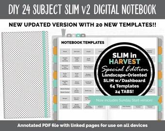 Slim v2 DIY 24 Subject Digital Notebook  | Harvest Theme | Goodnotes, iPad & Android | Hobonichi, Digital Bullet Journal, Planner