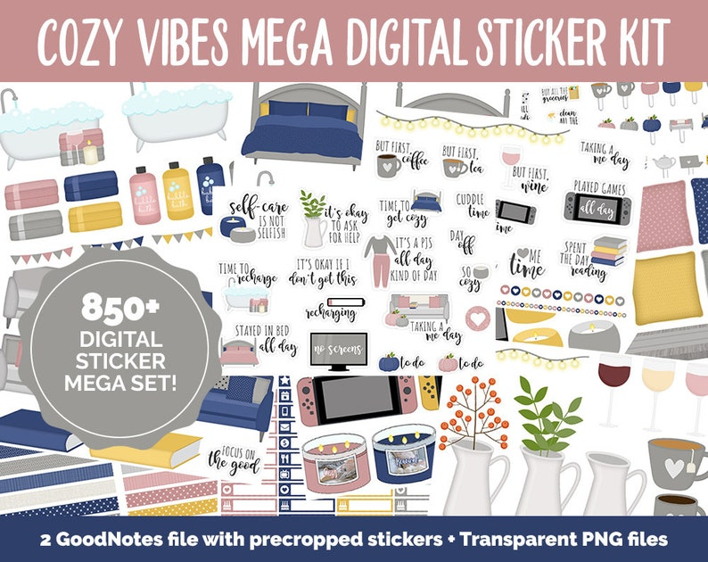 Cozy Vibes Digital Planner Sticker Mega Kit  GoodNotes iPad image 0