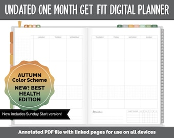 NEW! Undated Get Fit One Month Digital Planner | Autumn - Best Health Edition | GoodNotes, iPad & Android | Fitness, Self-Care