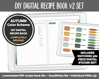 UPDATED! DIY Digital Recipe Book v2 + Sticker Set | Goodnotes, iPad & Android  | Recipes, Meal Planning