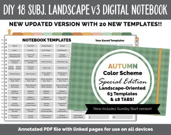 NEW 18 Subject Digital Notebook Landscape v3  | Autumn Theme | Goodnotes, iPad & Android | Digital Bullet Journal, Planner, Notebook