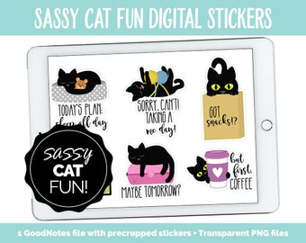 Sassy Cat Fun Digital Stickers | GoodNotes, iPad and Android | Kitty, Black Cat, Adulting