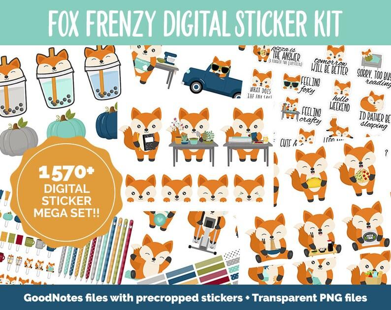 Fox Frenzy Digital Sticker Mega Bundle  GoodNotes & iPad  image 1