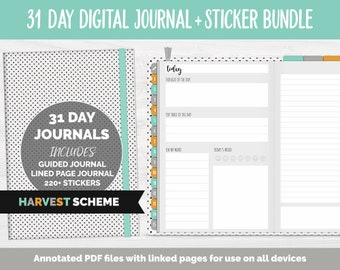 31 Day Digital Journal + Sticker Bundle | Harvest Theme | GoodNotes, iPad & Android