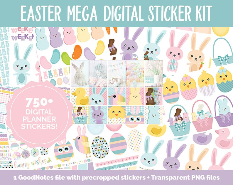 Easter MEGA Digital Sticker Bundle  GoodNotes & iPad  April image 0